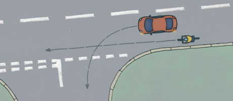 Diagram showing potential collision between a bicycle and a car ahead as the car turns left